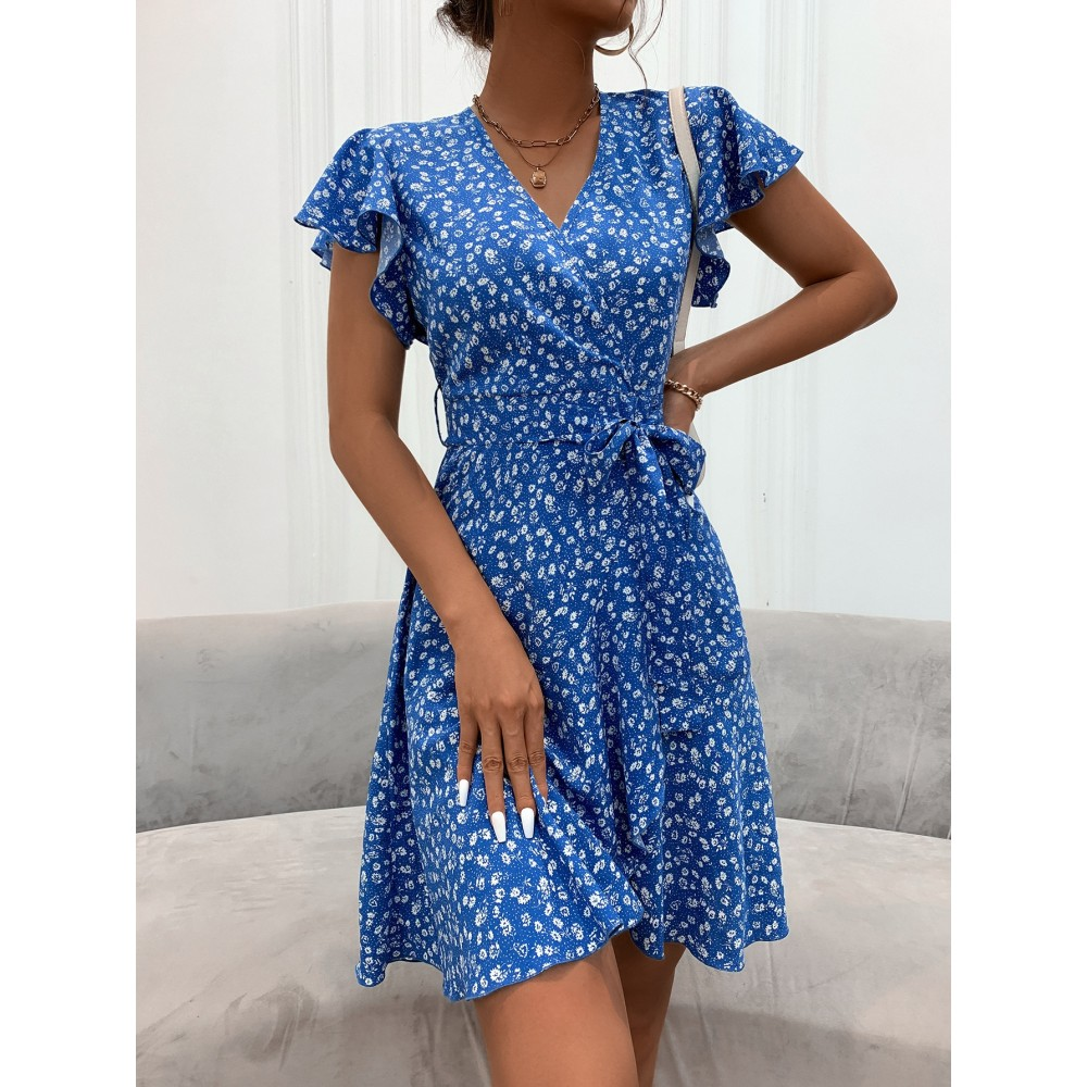 Ditsy Floral Belted Wrap Dress