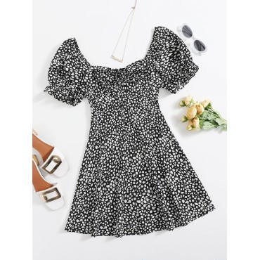 All Over Print Puff Sleeve Tie Front Milkmaid Dress