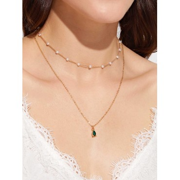1pc Faux Pearl & Rhinestone Charm Layered Necklace