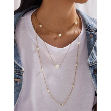 1pc Faux Pearl Beaded Layered Necklace