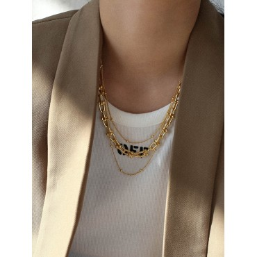 1pc Multi Layered Chain Linked Necklace