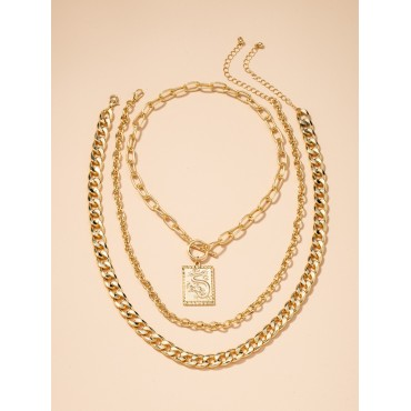 3pcs Engraved Geo Charm Chain Necklace